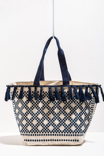 Embroidered beach bag with tassels