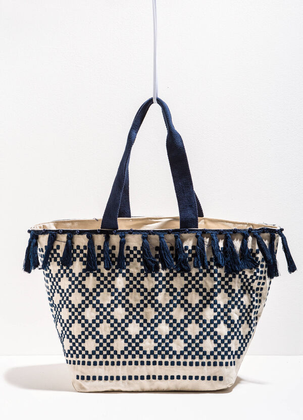 Embroidered beach bag with tassels | OVS