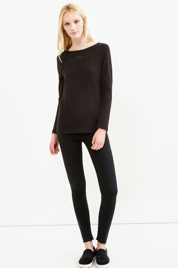 100% cotton T-shirt with long sleeves, Black, hi-res