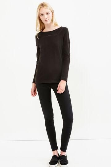 T-shirt puro cotone maniche lunghe, Nero, hi-res