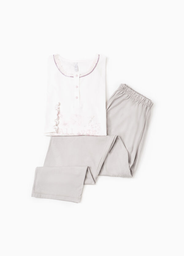 Pyjamas with print and lace | OVS