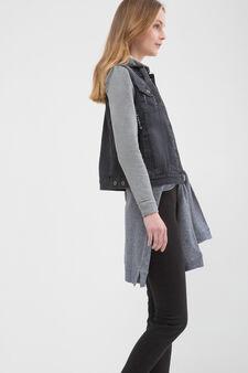 Worn-effect denim waistcoat, Black, hi-res