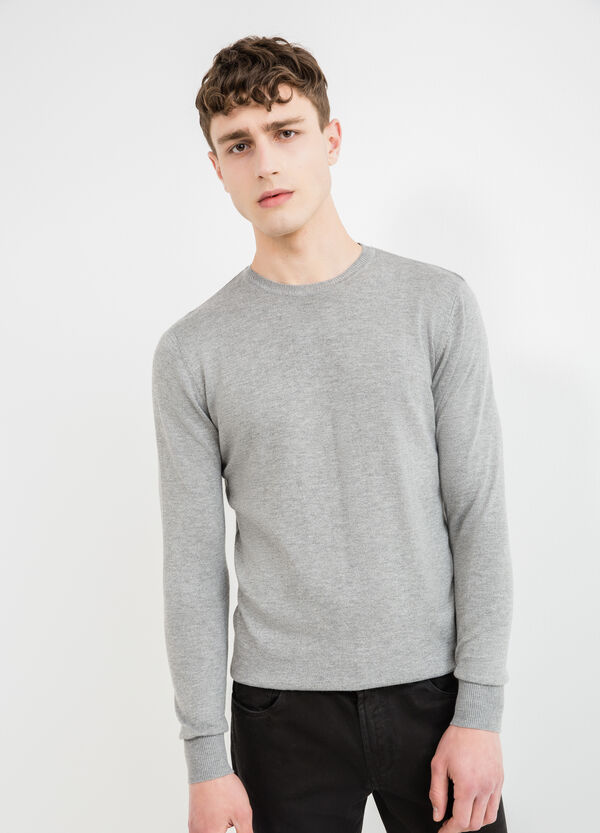 Viscose and wool blend crew neck pullover | OVS
