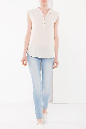 Diamond pattern sleeveless blouse, Light Beige, hi-res