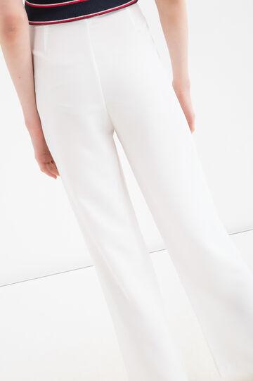 Pantaloni vita alta tinta unita, Bianco, hi-res