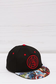 Printed cotton baseball cap, Black, hi-res