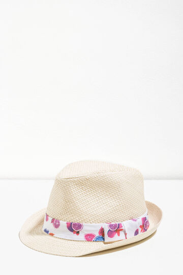 Straw hat with patterned band, Natural, hi-res