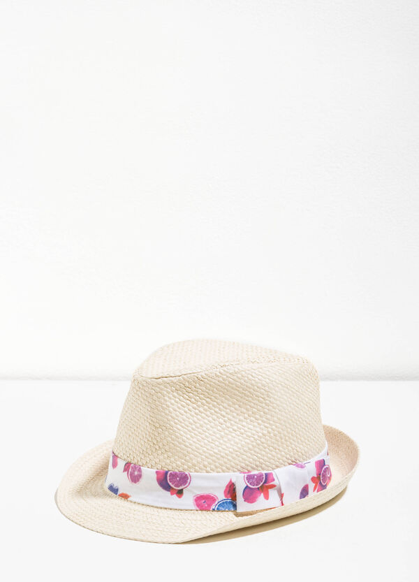 Straw hat with patterned band | OVS