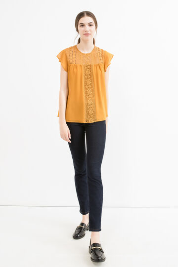 Embroidered blouse with cap sleeves, Ochre Yellow, hi-res