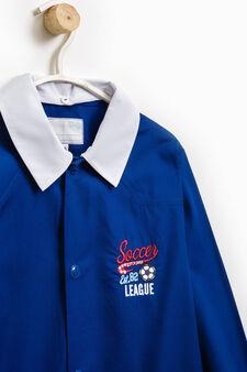 Embroidered smock in cotton blend, Royal Blue, hi-res