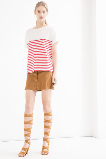 Striped T-shirt in 100% cotton, White/Red, hi-res