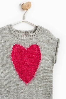 Short-sleeved pullover with embroidery on the chest, Grey, hi-res