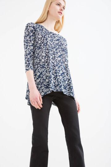 100% viscose floral patterned T-shirt, White/Blue, hi-res
