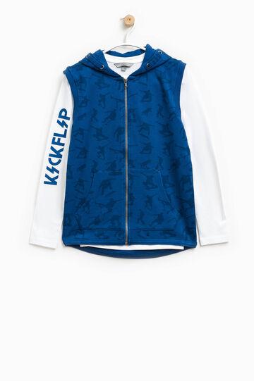 Sudadera sin mangas con camiseta interior, Blanco/Azul, hi-res