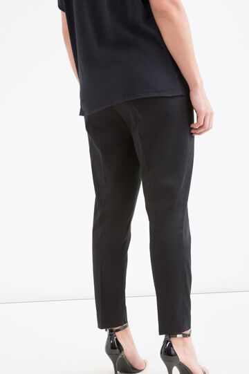 Pantaloni cotone stretch Curvy, Nero, hi-res