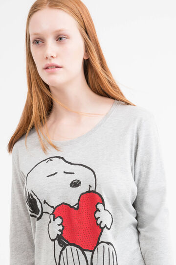 Stretch Curvy T-shirt with Snoopy print, Grey Marl, hi-res