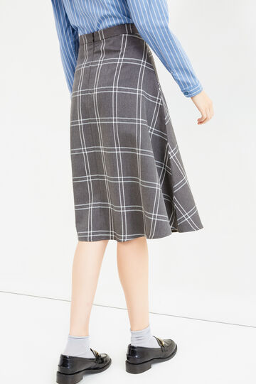 High-waisted longuette skirt with check pattern, Grey, hi-res