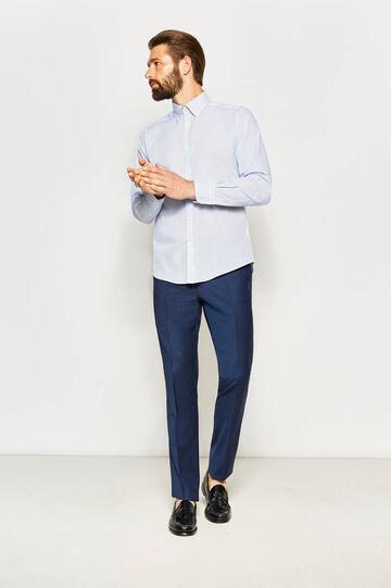 Camisa formal slim fit de rayas, Púrpura, hi-res