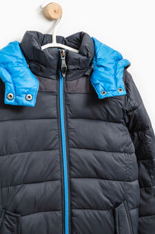 Down jacket with removable hood, Blue, hi-res