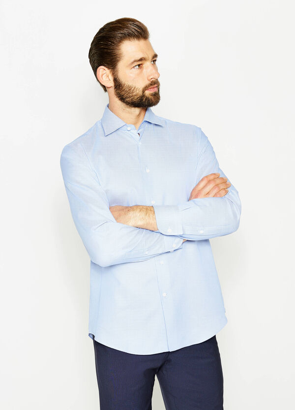 Formal shirt with regular fit and raised weave | OVS