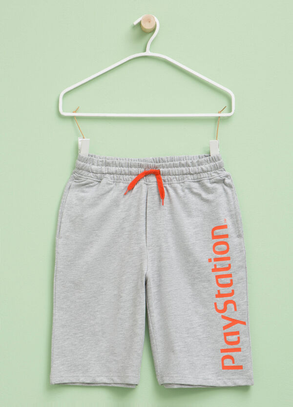 Cotton Bermuda shorts with PlayStation print | OVS