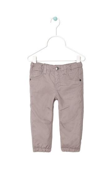 Pantaloni puro cotone tinta unita, Grigio, hi-res