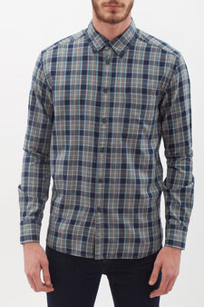Checked flannel shirt, Blue/Grey, hi-res