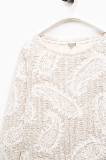 T-shirt ricamata Smart Basic, Bianco/Marrone, hi-res