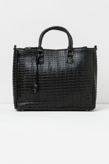 Handbag with crocodile texture, Black, hi-res