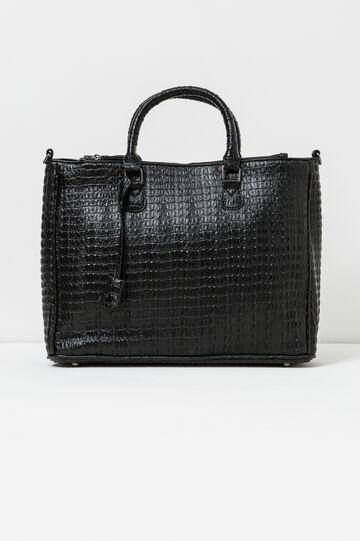 Handbag with crocodile texture, Black, hi-res