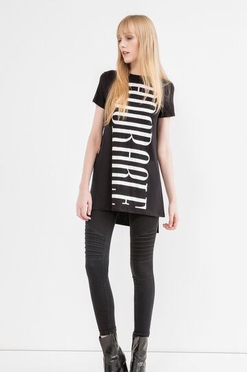 Stretch viscose T-shirt with splits, Black, hi-res