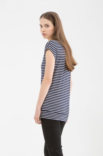 Long patterned viscose T-shirt, Navy Blue, hi-res