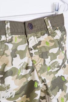 Bermuda puro cotone camouflage, Verde militare, hi-res