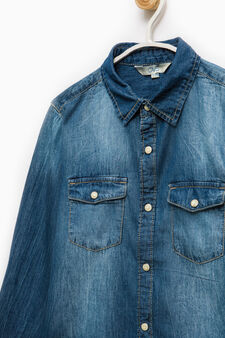 Denim shirt with faded effect, Dark Blue, hi-res