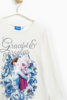 Frozen print cotton T-shirt, White, hi-res