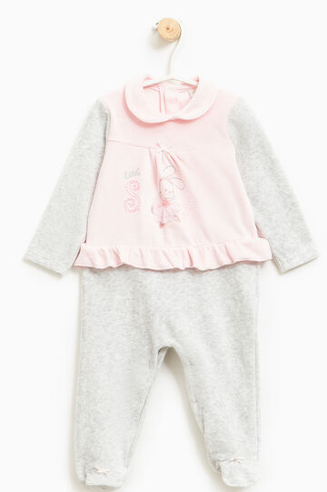 Sleep suit with flounces and tulle, Grey/Pink, hi-res