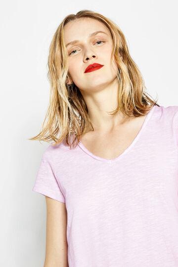 Camiseta en algodón 100% con bordes sin rematar, Lila, hi-res