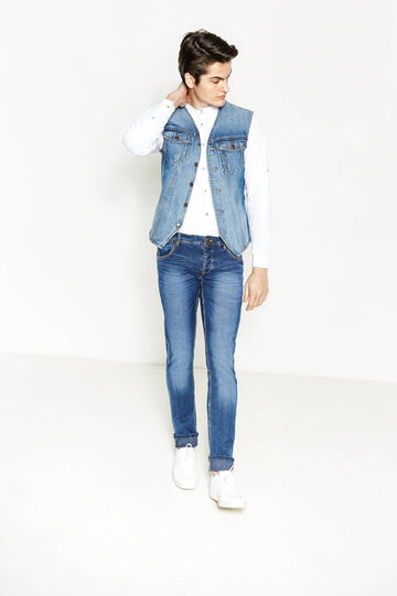 Gilet di jeans con retro a righe, Denim, hi-res