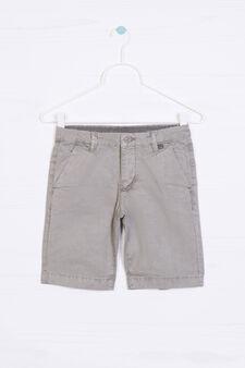 Solid colour 100% cotton Bermuda shorts, Grey, hi-res