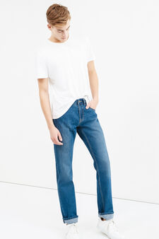 Straight-fit jeans with faded turn-ups, Medium Wash, hi-res