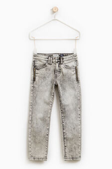 Skinny-fit stretch jeans with mis-dyed effect, Grey, hi-res