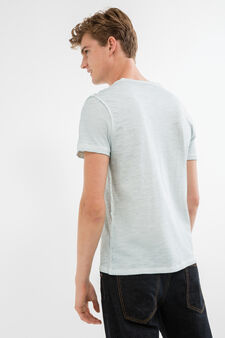 Faded effect cotton T-shirt with seam, Aquamarine Blue, hi-res
