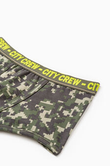 Stretch boxer shorts with camouflage pattern, Army Green, hi-res