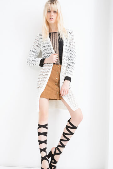 Long openwork cardigan, White, hi-res