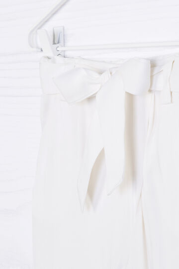Solid colour trousers with bow, Milky White, hi-res