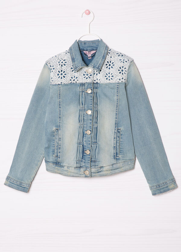 Denim jacket with lace yoke | OVS