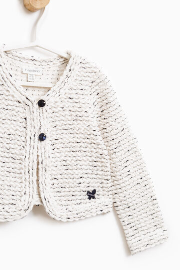 Striped cardigan with butterfly insert, White/Blue, hi-res