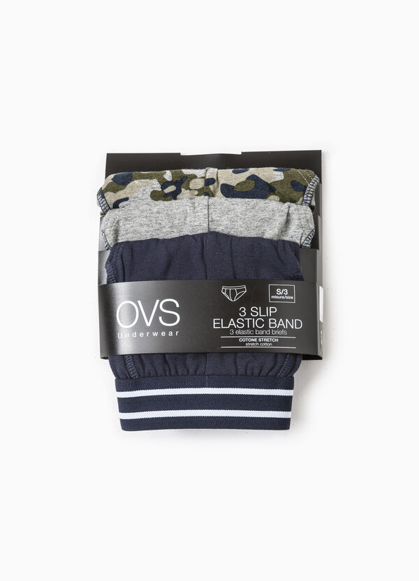 Three-pack stretch briefs solid colour and camouflage | OVS