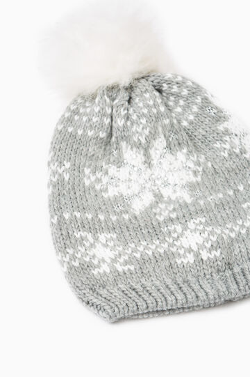 Knitted pattern beanie cap with diamantés, Grey Marl, hi-res