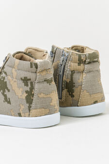 High-top sneakers with camouflage pattern, Army Green, hi-res